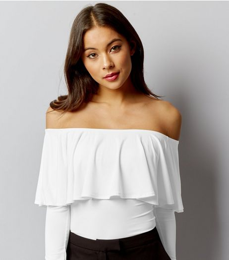 White Frill Trim Long Sleeve Bardot Neck Bodysuit | New Look