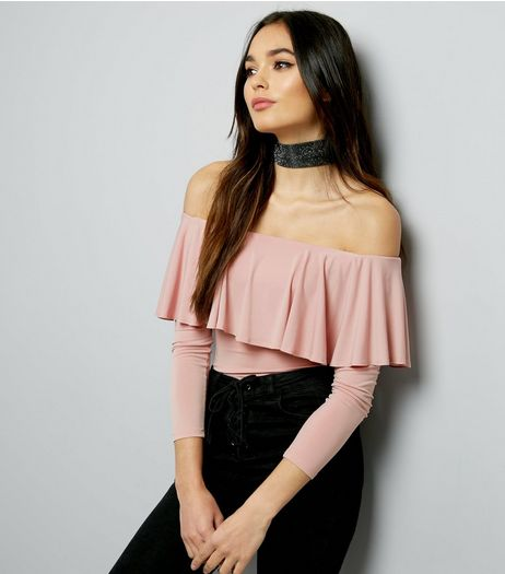Mid Pink Frill Trim Long Sleeve Bardot Neck Bodysuit  | New Look