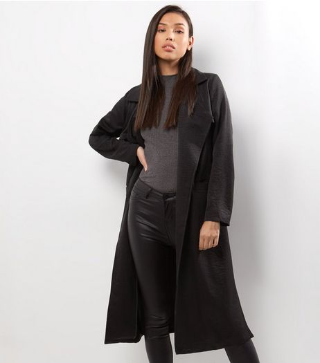 Black Sateen Trench Coat | New Look