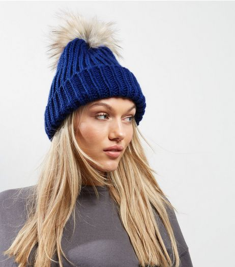 Blue Faux Fur Pom Pom Hat | New Look