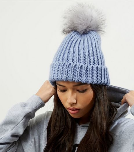 Light Blue Faux Fur Pom Pom Hat | New Look