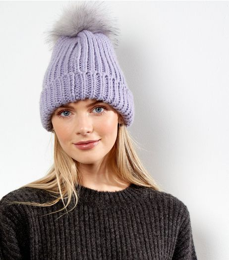 Lilac Faux Fur Pom Pom Bobble Hat  | New Look