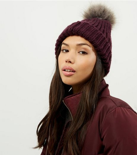 Purple Faux Fur Pom Pom Hat | New Look