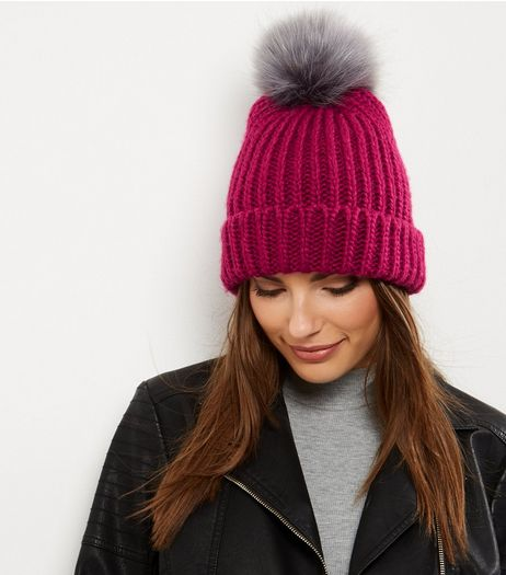 Pink Faux Fur Pom Pom Hat  | New Look
