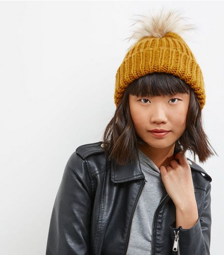Yellow Faux Fur Pom Pom Hat | New Look