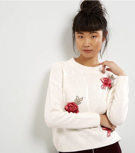Cameo Rose Cream Floral Embroidered Jumper | New Look