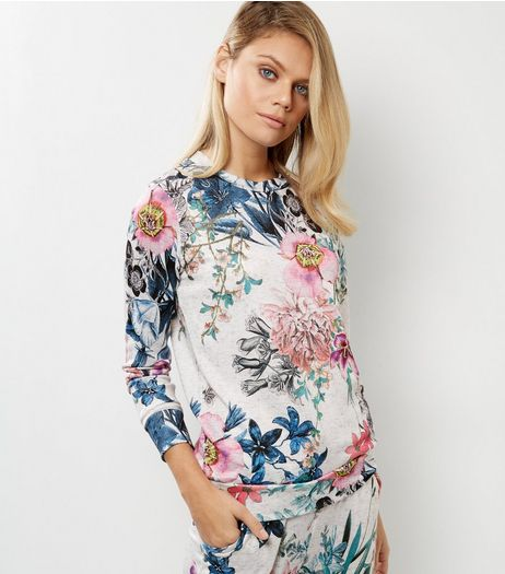 Cameo Rose White Floral Print Jumper | New Look