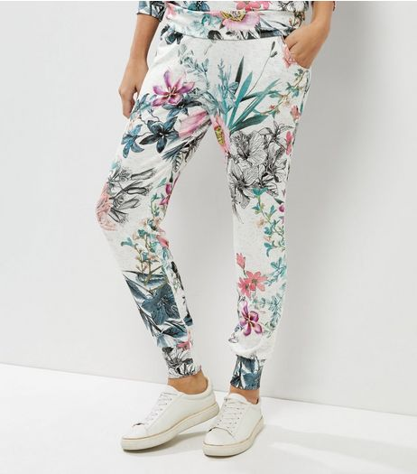 Cameo Rose White Floral Print Joggers | New Look