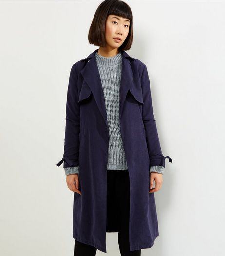 Navy Button Neck Trench Coat | New Look