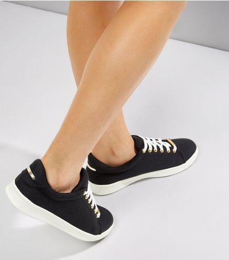 Black Contrast Metal Trim Lace Up Trainers | New Look