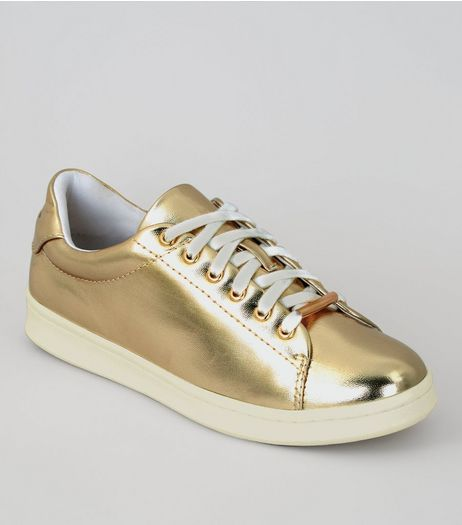Gold Metallic Lace Up Trainers | New Look