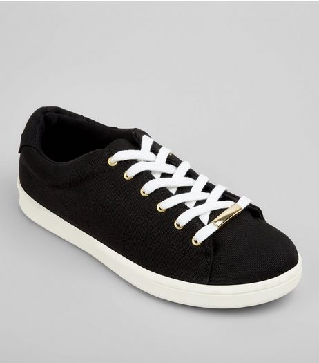 Black Canvas Metal Lace Trim Trainers | New Look