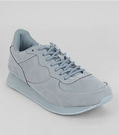 Pale Blue Snakeskin Texture Trainers | New Look