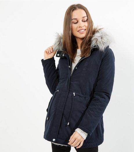 Maternity Navy Faux Fur Trim Parka | New Look