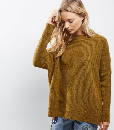 Olive Green Ribbed Long Sleeve Jumper  | New Look