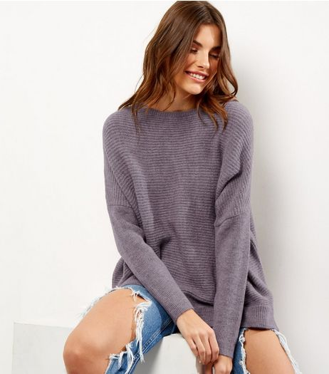 Light Purple Horizontal Ribbed Long Sleeve Jumper  | New Look