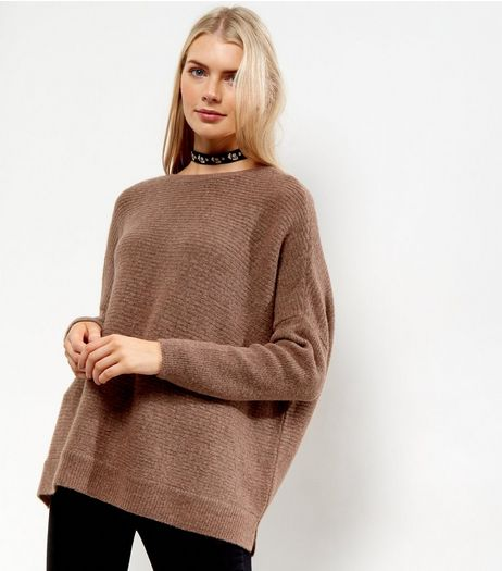 Mid Pink Ribbed Long Sleeve Jumper  | New Look