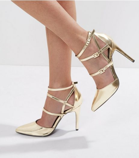 Wide Fit Gold Metallic Multi Strap Heels | New Look