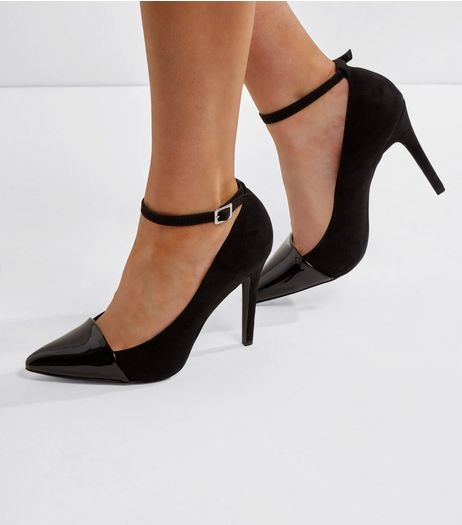 Wide Fit Black Suedette Contrast Toe Heels | New Look