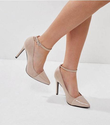 Wide Fit Mink Suedette Contrast Toe Heels | New Look