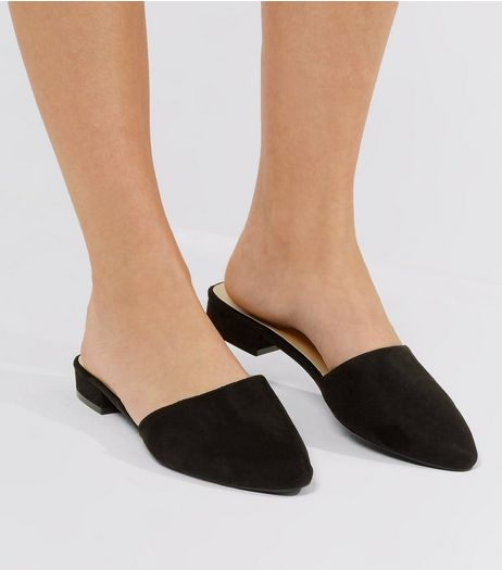 Wide Fit Black Suedette Pointed Mules  | New Look