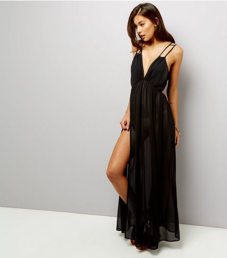 Black Chiffon Maxi Beach Dress | New Look