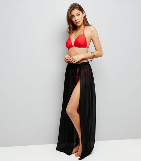 Black Sheer Sarong Maxi Skirt | New Look