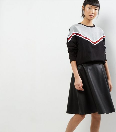 Noisy May Black Leather-Look Skirt  | New Look