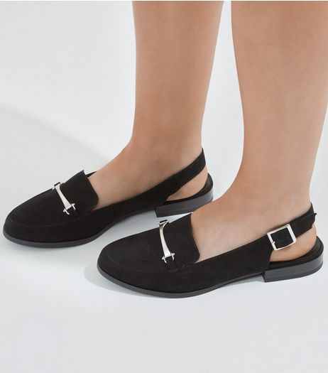 Wide Fit Black Suedette Sling Back Loafers | New Look