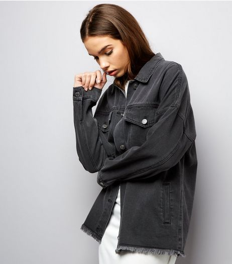 Noisy May Black Fray Hem Denim Jacket  | New Look