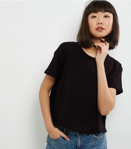Black Short Sleeve Cropped T-Shirt | New Look