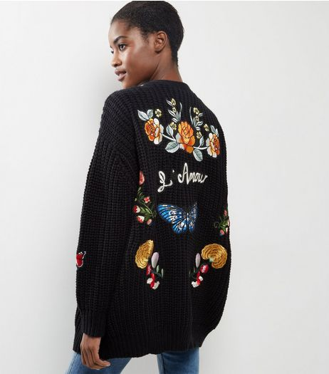 Black L'Amour Badge Embroidered Cardigan | New Look