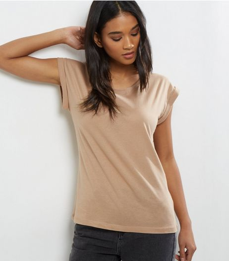 Camel Roll Sleeve T-Shirt | New Look