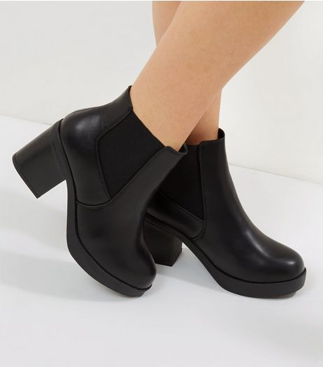 Wide Fit Black Heeled Boots  | New Look