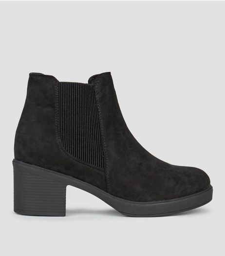 Wide Fit Black Suedette Block Heel Chelsea Boots | New Look