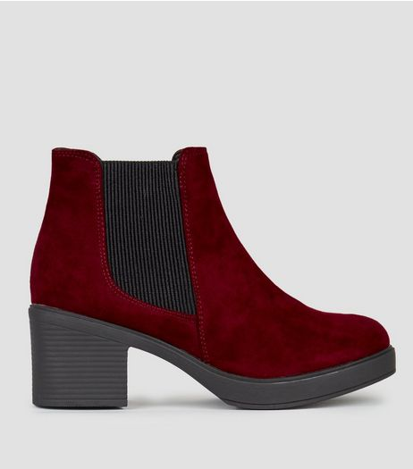 Wide Fit Dark Red Suedette Block Heel Chelsea Boots | New Look