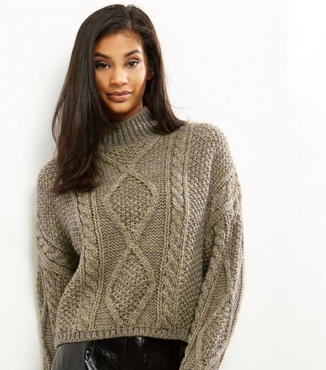 Yellow Premium Chunky Cable Knit Cropped Jumper | New Look