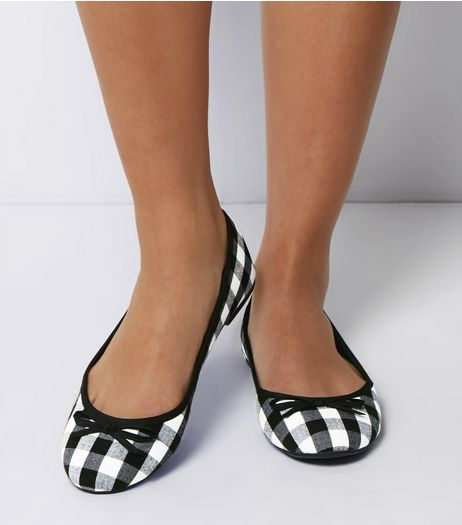 Wide Fit Black Gingham Ballet Pumps | New Look