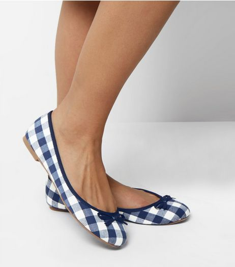 Wide Fit Navy Gingham Ballet Pumps | New Look