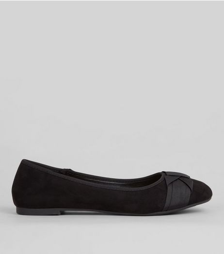 Teens Black Suedette Bow Front School Pumps | New Look