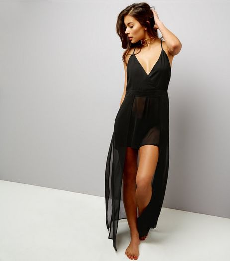 Black Chiffon Double Layer Beach Playsuit | New Look