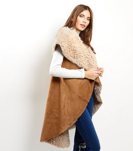 Apricot Tan Suedette Faux Shearling Lined Longline Gillet | New Look