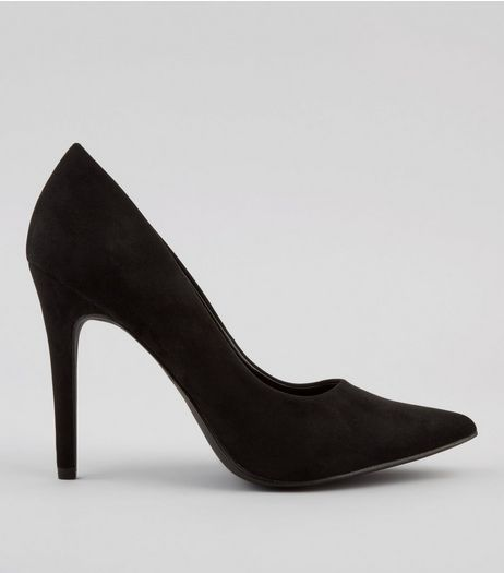 Black Suedette Pointed Court Heels | New Look