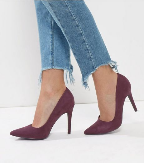 Dark Purple Suedette Pointed Court Shoes | New Look