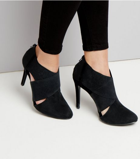 Black Elasticated Cross Strap Heels | New Look