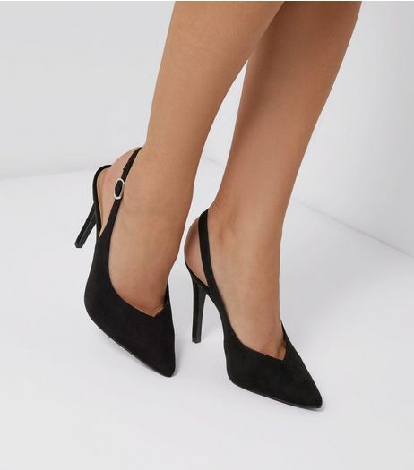 Black Suedette Pointed Slingback Heels | New Look