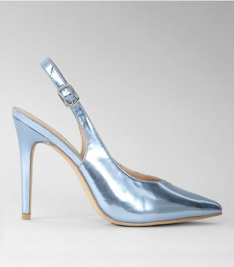 Blue Metallic Pointed Sling Back Heels | New Look