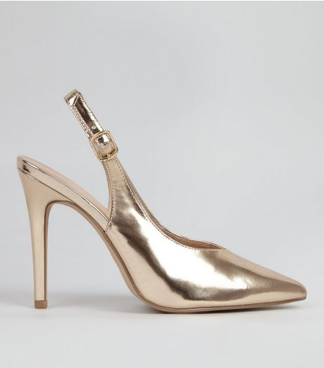 Gold Metallic Pointed Sling Back Heels | New Look