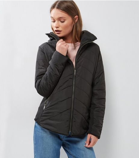 Black Padded Fitted Puffer Jacket | New Look