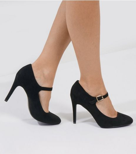 Black Comfort Suedette Strap Front Court Shoes | New Look